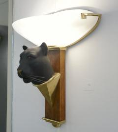 1950s Italian Art Deco Pair of Black Panther Bronze Frosted Glass Wall Lights - 2076280
