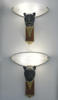 1950s Italian Art Deco Pair of Black Panther Bronze Frosted Glass Wall Lights - 2076281