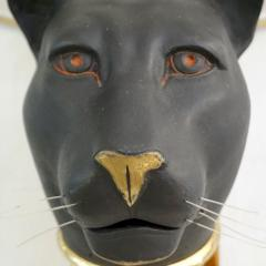 1950s Italian Art Deco Pair of Black Panther Bronze Frosted Glass Wall Lights - 2076283