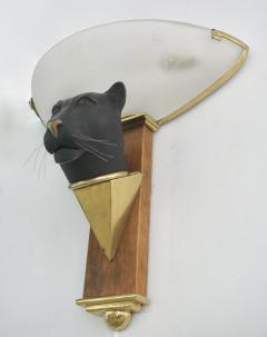 1950s Italian Art Deco Pair of Black Panther Bronze Frosted Glass Wall Lights - 2076284