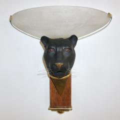 1950s Italian Art Deco Pair of Black Panther Bronze Frosted Glass Wall Lights - 2076285
