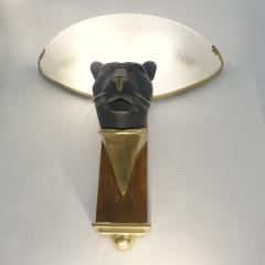 1950s Italian Art Deco Pair of Black Panther Bronze Frosted Glass Wall Lights - 2076286