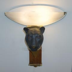 1950s Italian Art Deco Pair of Black Panther Bronze Frosted Glass Wall Lights - 2076287