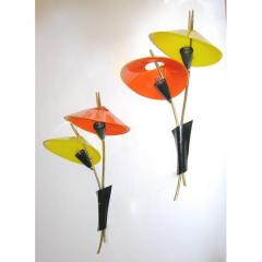 1950s Italian Pair of Whimsical Orange and Yellow Sconces - 951112