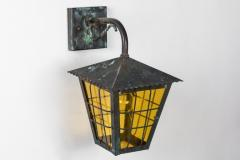 1950s Large Scandinavian Outdoor Wall Lights in Patinated Copper Yellow Glass - 1087620