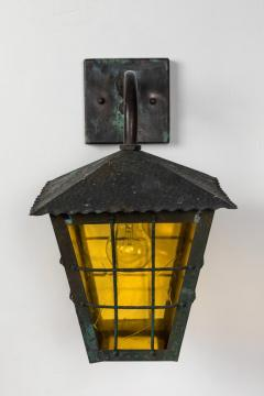 1950s Large Scandinavian Outdoor Wall Lights in Patinated Copper Yellow Glass - 1087622