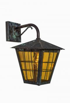 1950s Large Scandinavian Outdoor Wall Lights in Patinated Copper Yellow Glass - 1087623