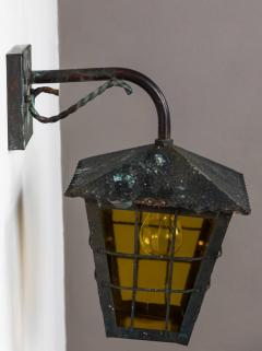 1950s Large Scandinavian Outdoor Wall Lights in Patinated Copper Yellow Glass - 1087624