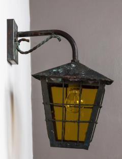 1950s Large Scandinavian Outdoor Wall Lights in Patinated Copper Yellow Glass - 1087628