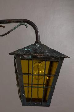 1950s Large Scandinavian Outdoor Wall Lights in Patinated Copper Yellow Glass - 1087629