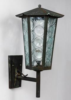 1950s Large Scandinavian Outdoor Wall Lights in Patinated Copper and Glass - 1086803