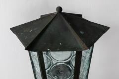 1950s Large Scandinavian Outdoor Wall Lights in Patinated Copper and Glass - 1086804