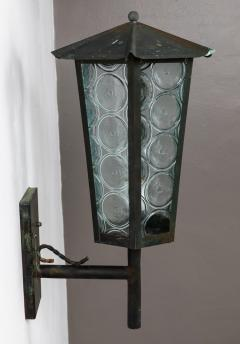 1950s Large Scandinavian Outdoor Wall Lights in Patinated Copper and Glass - 1086807