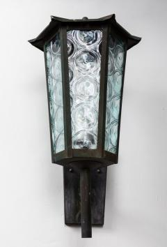 1950s Large Scandinavian Outdoor Wall Lights in Patinated Copper and Glass - 1086808