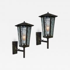 1950s Large Scandinavian Outdoor Wall Lights in Patinated Copper and Glass - 1086922
