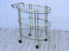 1950s Mid Century Modern 3 Tier Solid Brass Italian Bar Cart - 1903263