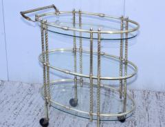 1950s Mid Century Modern 3 Tier Solid Brass Italian Bar Cart - 1903264