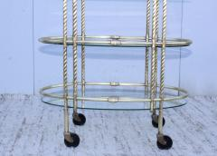 1950s Mid Century Modern 3 Tier Solid Brass Italian Bar Cart - 1903266