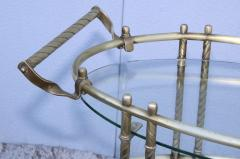 1950s Mid Century Modern 3 Tier Solid Brass Italian Bar Cart - 1903268