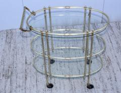 1950s Mid Century Modern 3 Tier Solid Brass Italian Bar Cart - 1903269