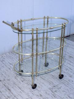 1950s Mid Century Modern 3 Tier Solid Brass Italian Bar Cart - 1903270