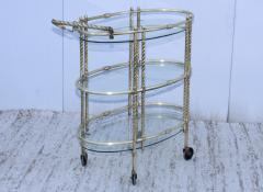 1950s Mid Century Modern 3 Tier Solid Brass Italian Bar Cart - 1903271