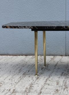 1950s Modern Exotic Marble Top With Tapered Brass Legs Italian Coffee Table - 1528398