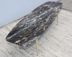 1950s Modern Exotic Marble Top With Tapered Brass Legs Italian Coffee Table - 1528408