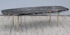 1950s Modern Exotic Marble Top With Tapered Brass Legs Italian Coffee Table - 1528409