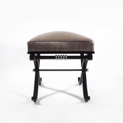 1950s Neo Classical French Enameled Iron X Footstool - 1036419