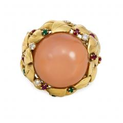 1950s Pink Moonstone and Multi Gem Cocktail Ring of Foliate Design - 1990628