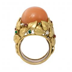 1950s Pink Moonstone and Multi Gem Cocktail Ring of Foliate Design - 1990629