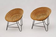 1950s Set of Two French Wicker Chairs - 822087