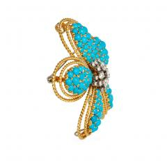 1950s Turquoise and Diamond Flower Brooch Pendant in Gold and Platinum - 1829987