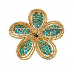 1950s Turquoise and Diamond Flower Brooch Pendant in Gold and Platinum - 1829988