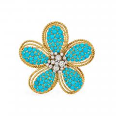 1950s Turquoise and Diamond Flower Brooch Pendant in Gold and Platinum - 1830169