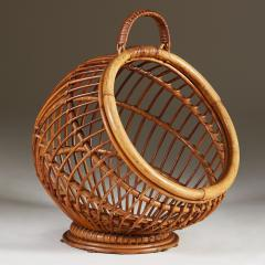 1950s wicker basket with handle - 2014061