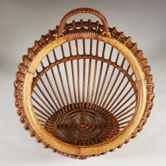1950s wicker basket with handle - 2014071