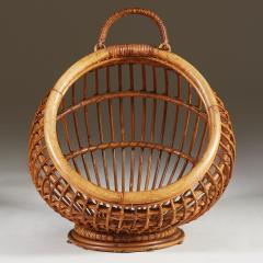 1950s wicker basket with handle - 2014072