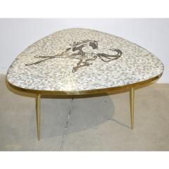 1953 Italian Vintage Black White Gray Horse Mosaic Brass Dining Coffee Table - 978120
