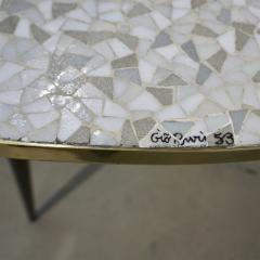 1953 Italian Vintage Black White Gray Horse Mosaic Brass Dining Coffee Table - 978121