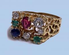 1960 s Gentlemans Gold and Gemstone Ring - 2062760