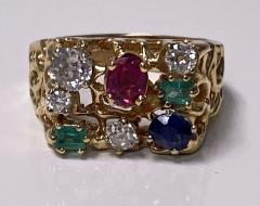 1960 s Gentlemans Gold and Gemstone Ring - 2062761