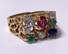 1960 s Gentlemans Gold and Gemstone Ring - 2062763