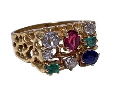 1960 s Gentlemans Gold and Gemstone Ring - 2066053