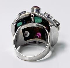 1960 s Sputnik Gold Diamond and Gemstone Ring  - 2071556