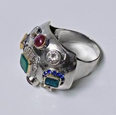 1960 s Sputnik Gold Diamond and Gemstone Ring  - 2071557