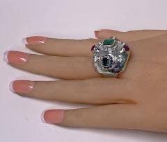 1960 s Sputnik Gold Diamond and Gemstone Ring  - 2071559