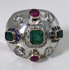1960 s Sputnik Gold Diamond and Gemstone Ring  - 2071560