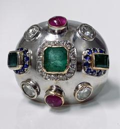 1960 s Sputnik Gold Diamond and Gemstone Ring  - 2071561